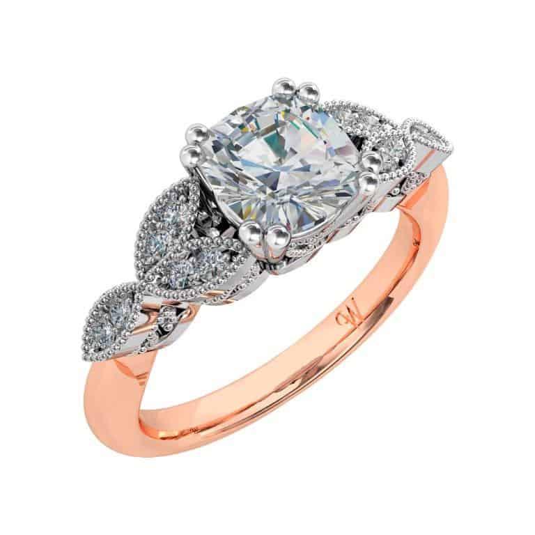 Cushion Cut Diamond Solitaire Vintage Engagement Ring