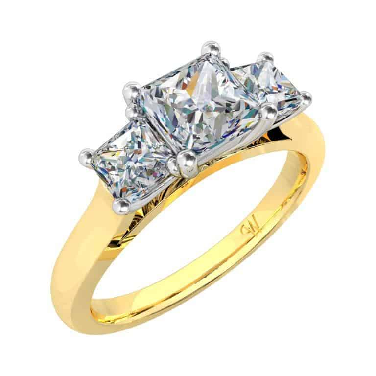 Princess Cut Diamond Three Stone Engagement Ring