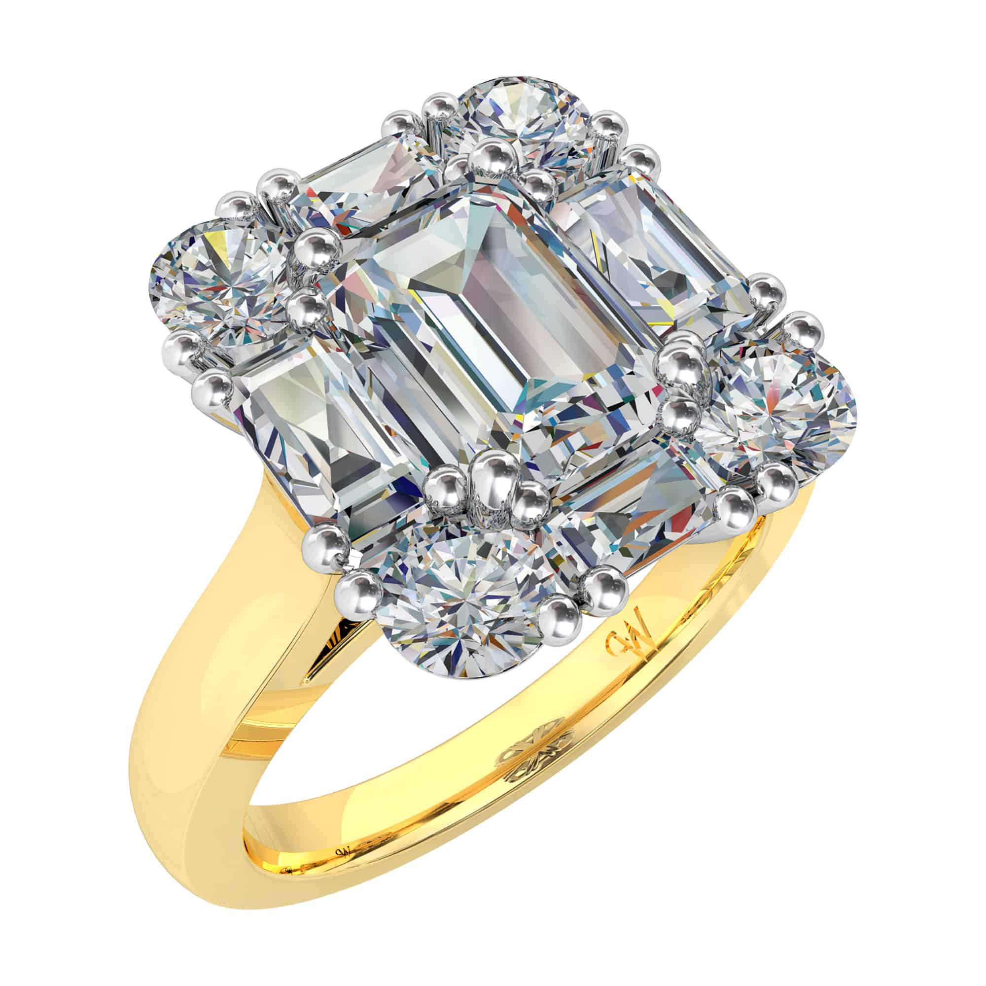 art carat ring diamond asscher tapering calibre cut antiques elegant with asher sapphire detail shoulders a stunning and