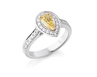 Pear Shaped Yellow Diamond Halo Ring