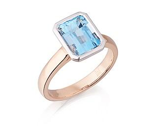 Emerald Aquamarine Solitaire Ring