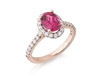 Oval Pink Tourmaline & Diamond Halo Ring