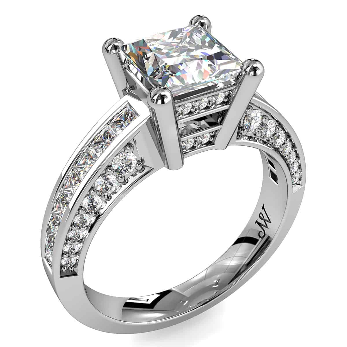 Princess cut diamond solitaire engagement ring whitakers for Princess cut solitaire engagement ring with wedding band
