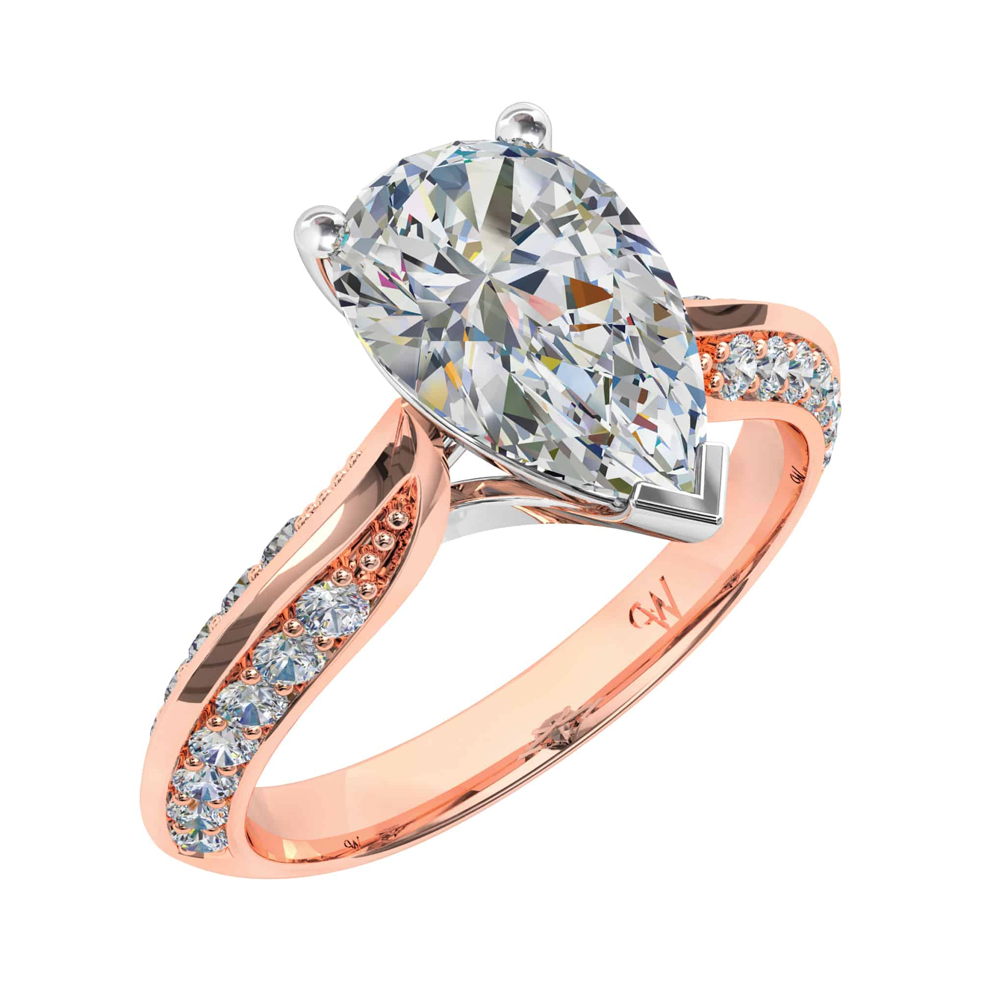 home cut product ring rings engagement gold white in diamond modern pear