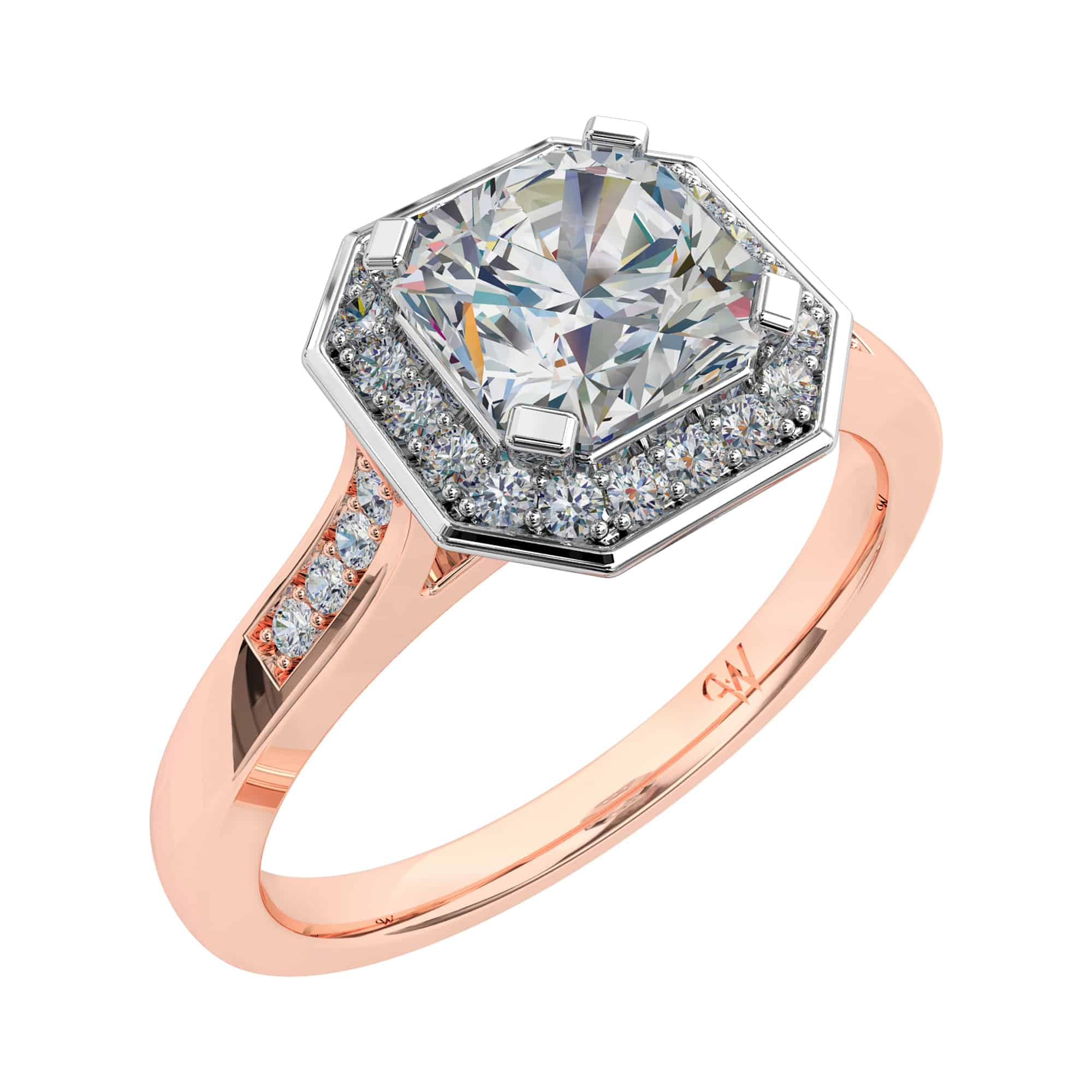 carat jewellery london rings set with and rg asscher white engagement cut diamond in rocks products halo ring