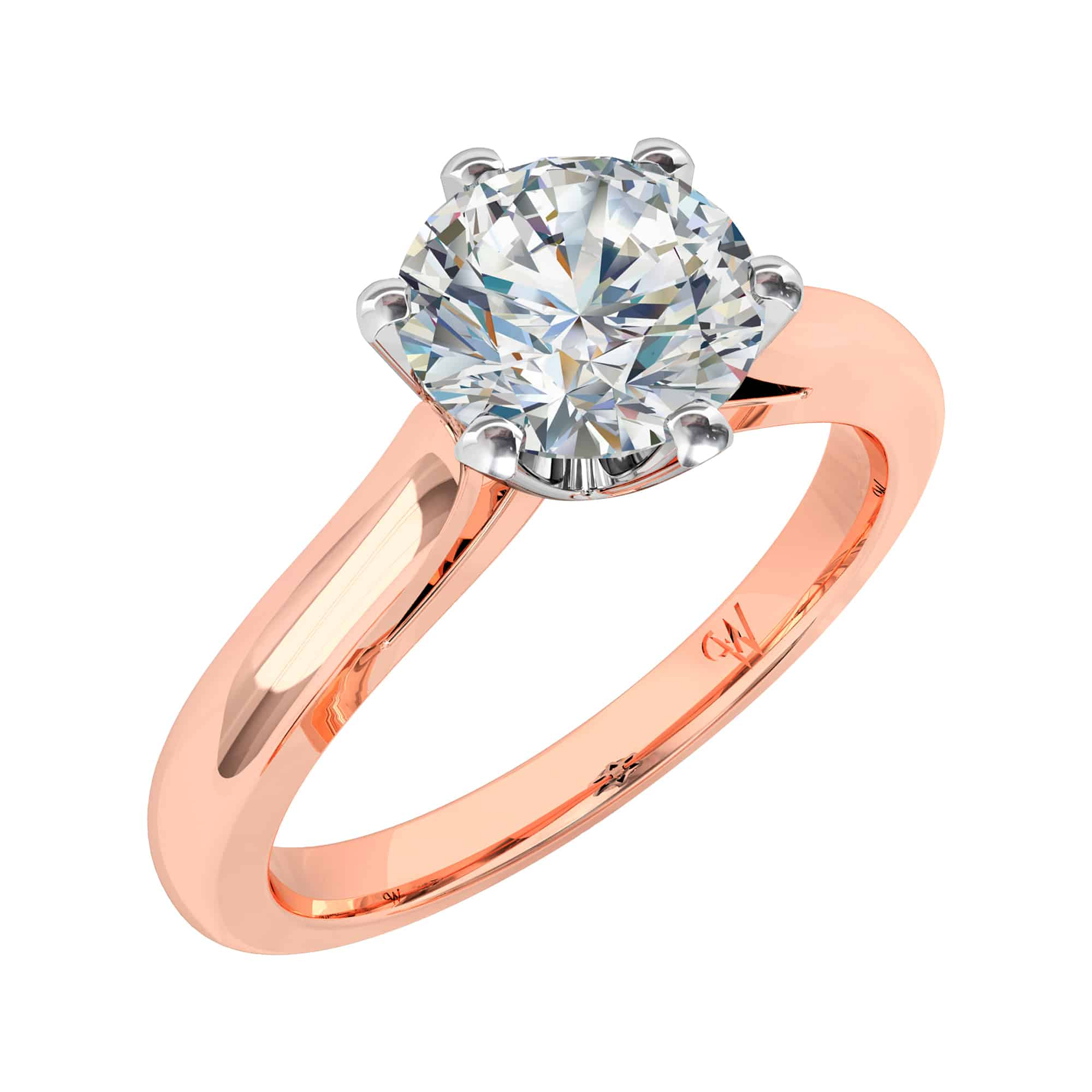cut gold stone diamond set brilliant ct rings ring white engagment product claw engagement