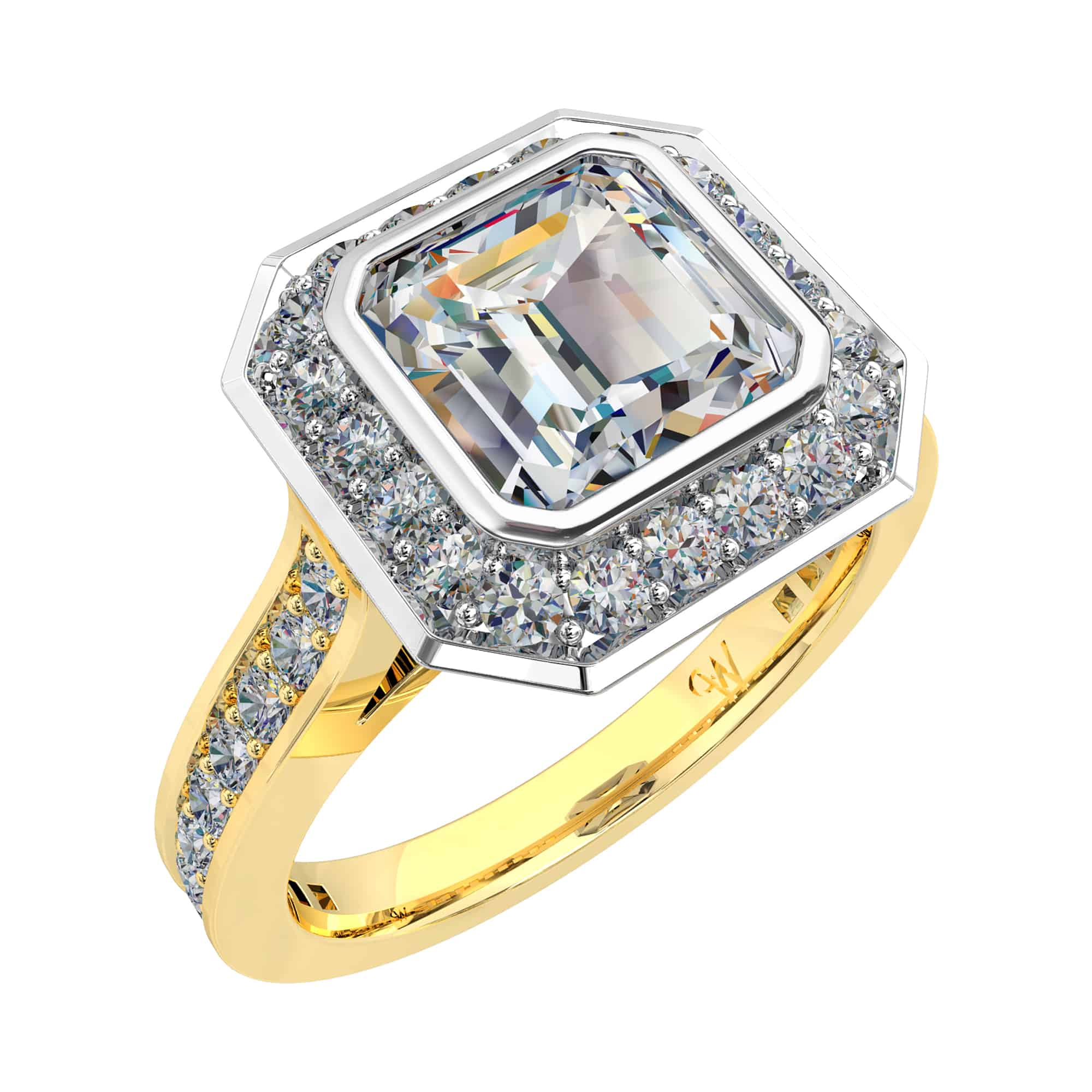 mary diamond rings face engagement flanked trapezoids material ring by products jewellery asscher cut good