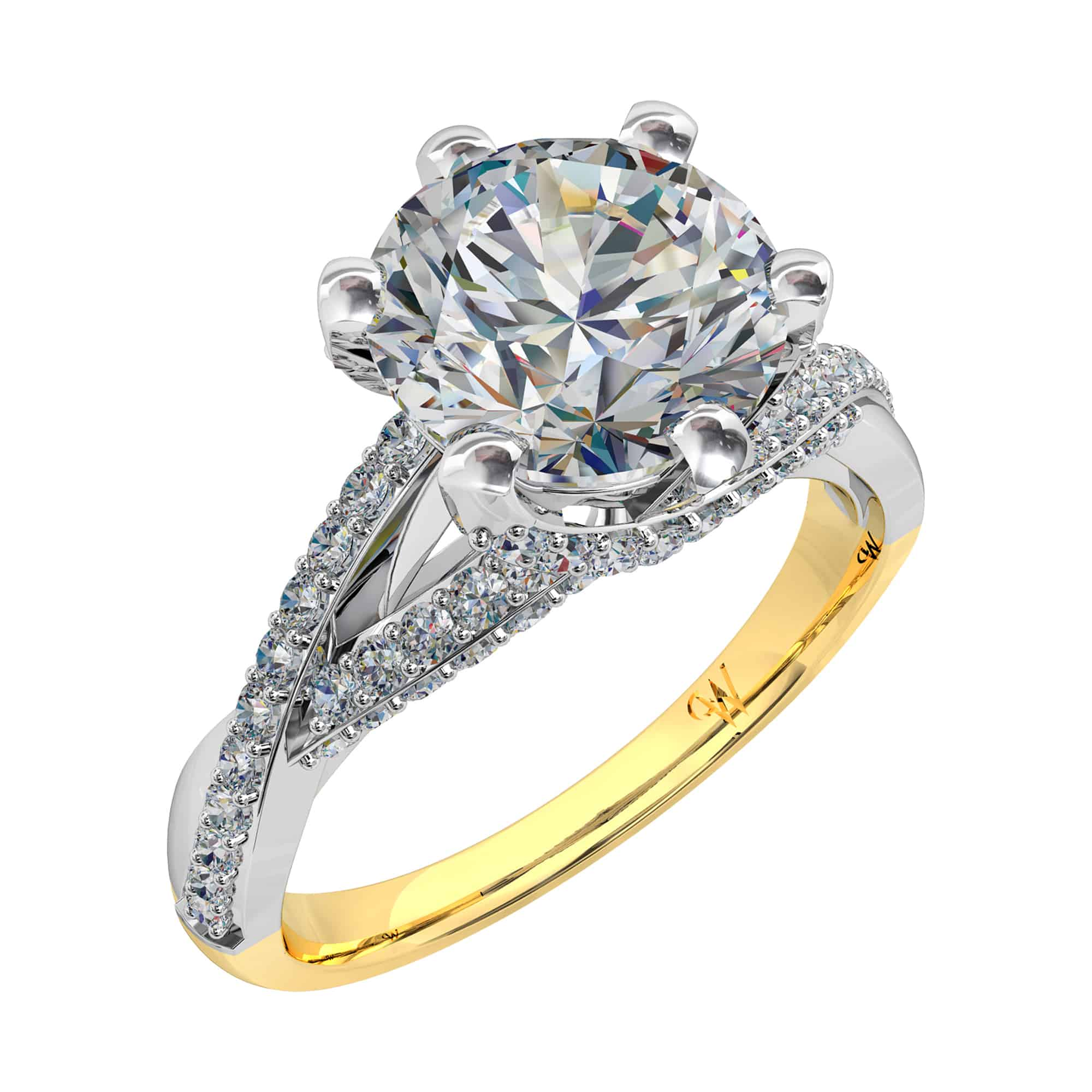 diamond cut ring platinum brilliant and marquise navette shape
