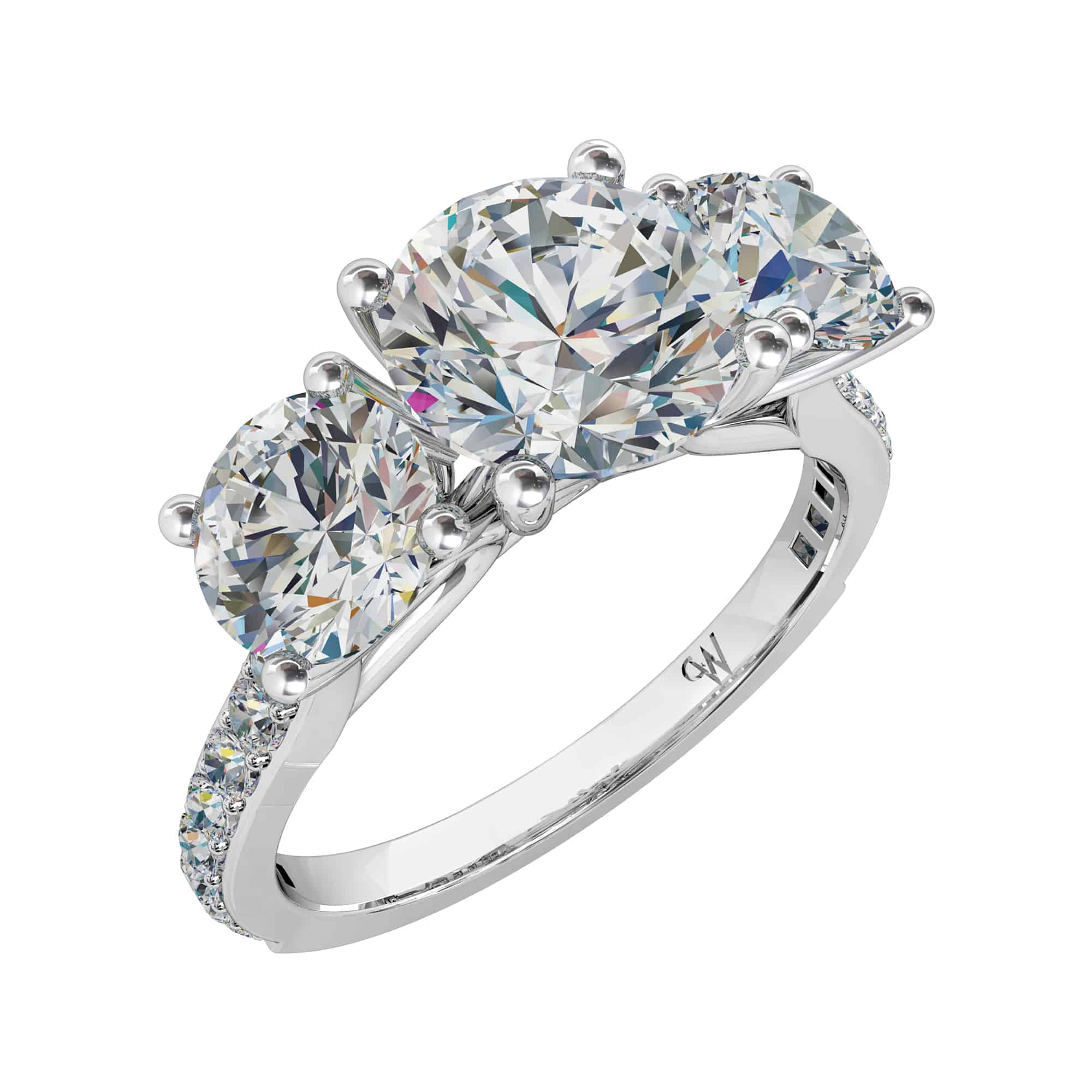 a setting with pave ring in collections engagement shank brilliant diamond gold cut round set flame rose graff pink