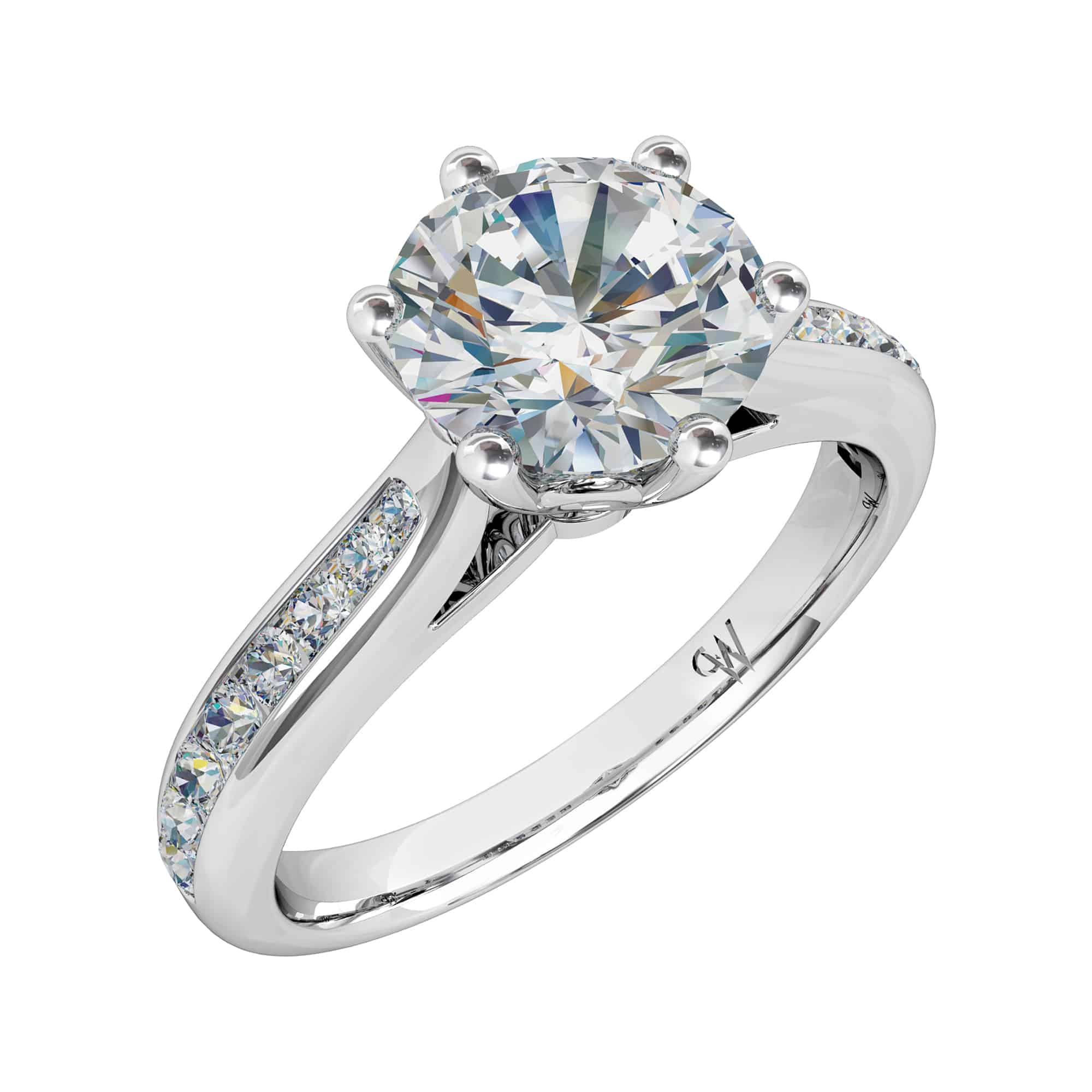 cut david m twist robinson ring round diamond in platinum brilliant