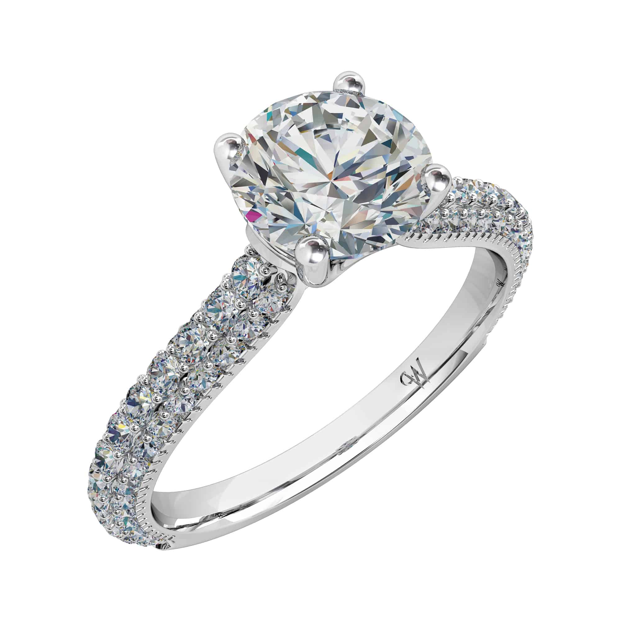 denzel polished solitaire platinum band round cut brilliant ring products diamond platinium henrich