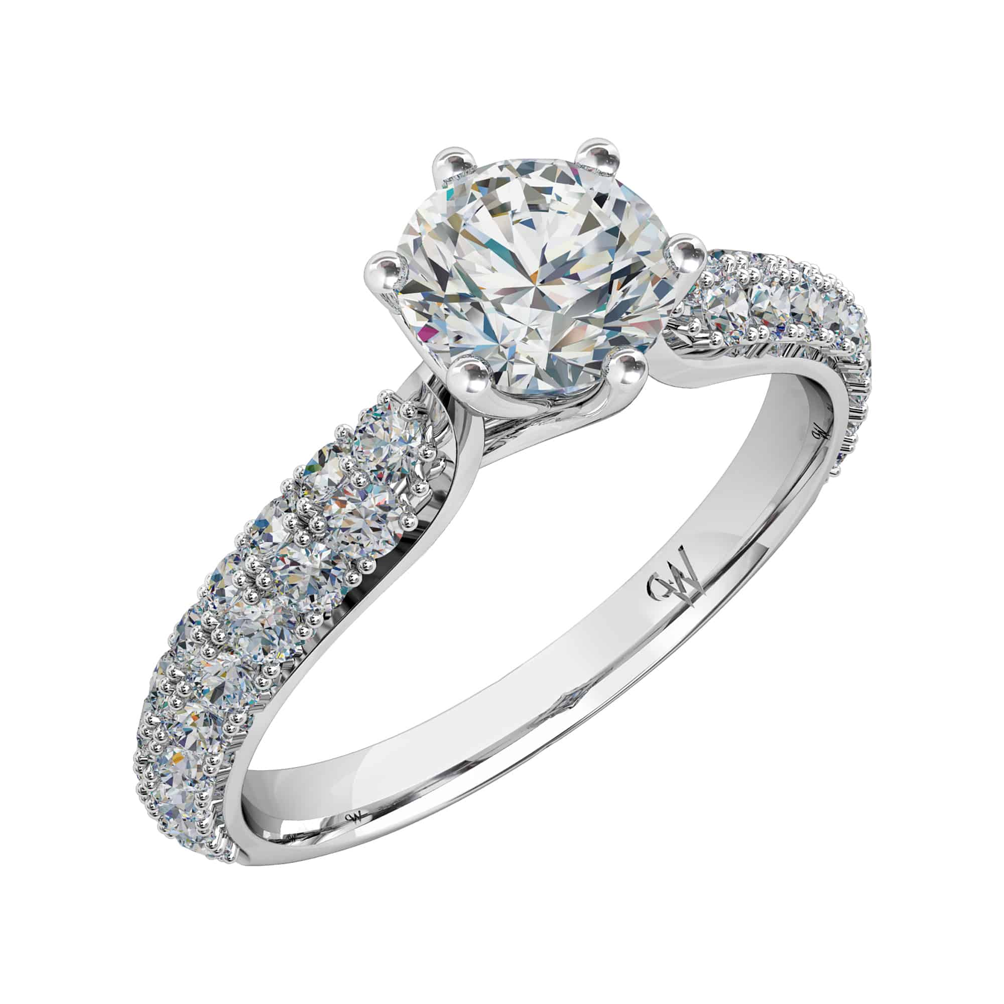 trio overview diamond central ring round brilliant cut radient and