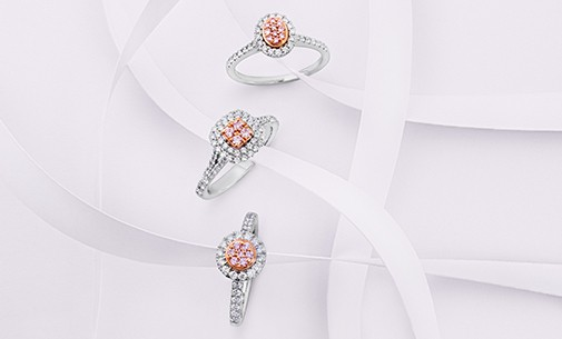 Three Pink Diamond Rings